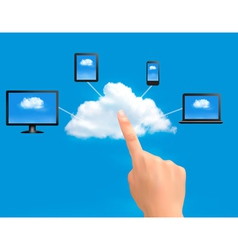 Cloud Computing concept background with hand vector image vector image