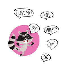 Cute happy raccoon character with word yay in vector