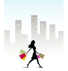 Girl go for shopping vector image
