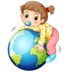 Girl todler hugging the earth vector image vector image