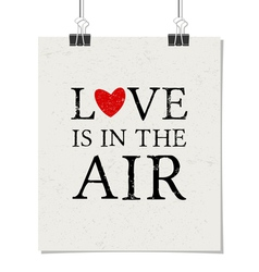 love is in the air vintage poster with paper clips vector image vector image