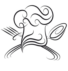 chef hat with spoon vector image
