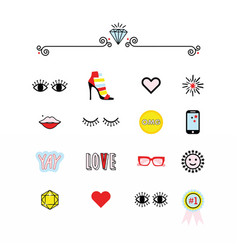 colorful modern retro feminine fun icons set vector image vector image