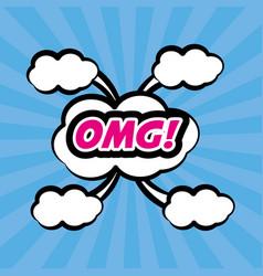 pop art omg comic bubble speech vector image