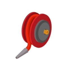 Red fire hose winder roll reels cartoon icon vector image vector image
