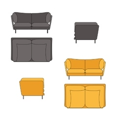 Sofa Set Flat Grey Yellow vector image vector image