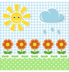 Spring fabric background with sun and flowers vector image vector image
