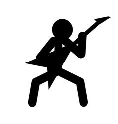 stick figure man playing guitar musician vector image