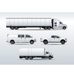 Trucks collection for transportation cargo vector image vector image