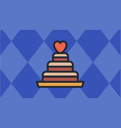 valentines cake icon with blue diamond-shaped vector image