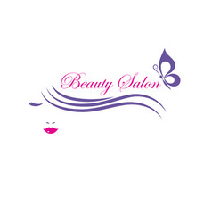 Beautiful woman face logo template for hair vector