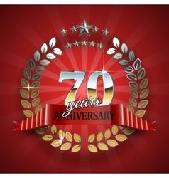 Celebrative Golden Frame for 70th Anniversary vector image