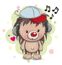 cute cartoon hedgehog with headphones vector image vector image