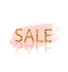 Golden Sale lettering Pastel pink watercolor vector image