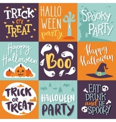 Halloween invitation cards set vector image