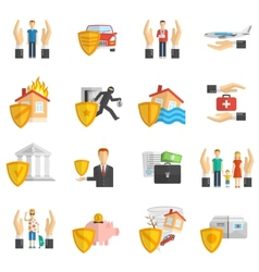 Insurance multicolored flat icon set vector image vector image
