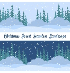 Seamless Landscapes Christmas Trees vector image vector image