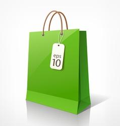 Shopping green bag vector image