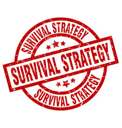 survival strategy round red grunge stamp vector image vector image