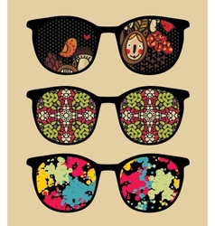 Three retro sunglasses with cool reflection vector