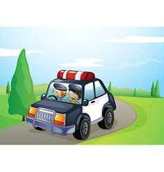 a car and smiling kids vector image
