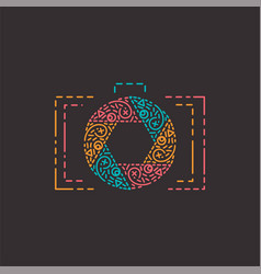 Abstract photography logo in line style vector