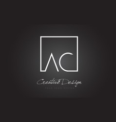 Ac square frame letter logo design with black and vector