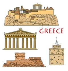 Ancient greek travel landmarks thin line icons vector image