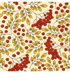 Autumn seamless pattern Rowanberries and Yellow vector image