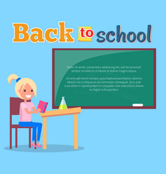 Back to school poster with profile of smiling girl vector