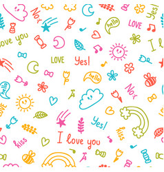 Background for cute little kids hand drawn vector