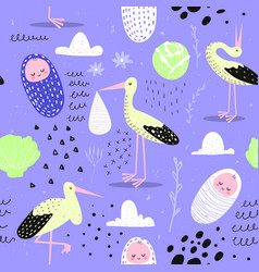 Bashower seamless pattern with cute stork vector