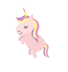 beauty unicorn dancing with hairstyle design vector image