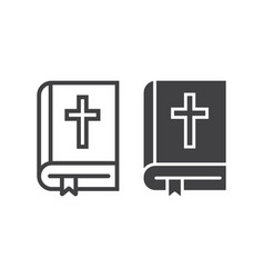 bible line and glyph icon easter and holiday vector image