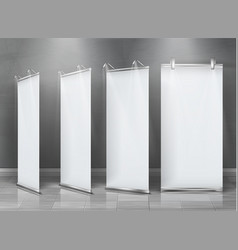 Blank roll-up banners vertical stands vector