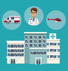 building hospitals with circular frame of vehicles vector image