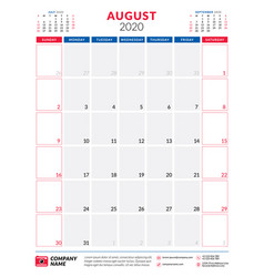 Calendar for august 2020 planner stationery vector