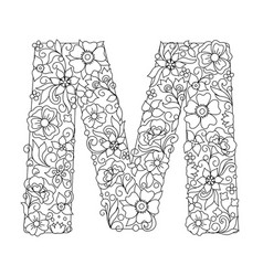 Capital letter m patterned with abstract flowers vector