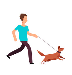Cartoon man running with dog healthy lifestyle vector