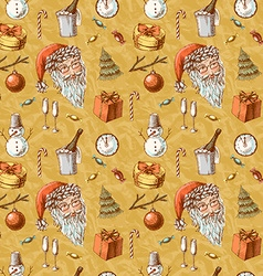 Christmas hand drawn texture with cute Santa deer vector