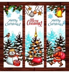 Christmas sketched banner set on wooden background vector