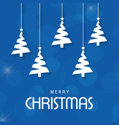 christmas tree with blue background vector image
