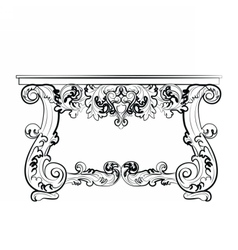Classic baroque style table with ornaments vector