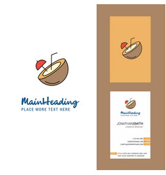 coconut creative logo and business card vertical vector image