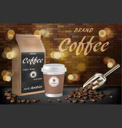 Coffee paper cup with beans ads 3d vector