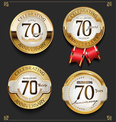 collection of elegant golden anniversary vector image