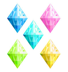 Colored crystals collection vector