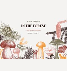Conifers and mushrooms design hand drawn autumn vector