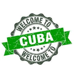 Cuba round ribbon seal vector