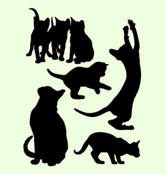 cute cats and kittens gesture animal silhouette vector image